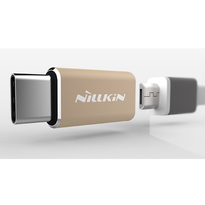Redukcia Nillkin z MicroUSB na USB-C, Gold