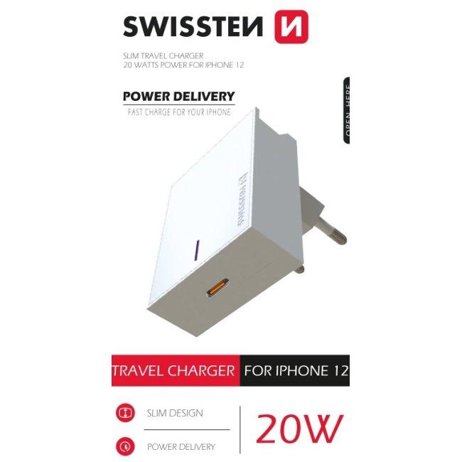 Rýchlonabíjačka Swissten Power Delivery 20W s 1x USB-C pre iPhone 12, biela