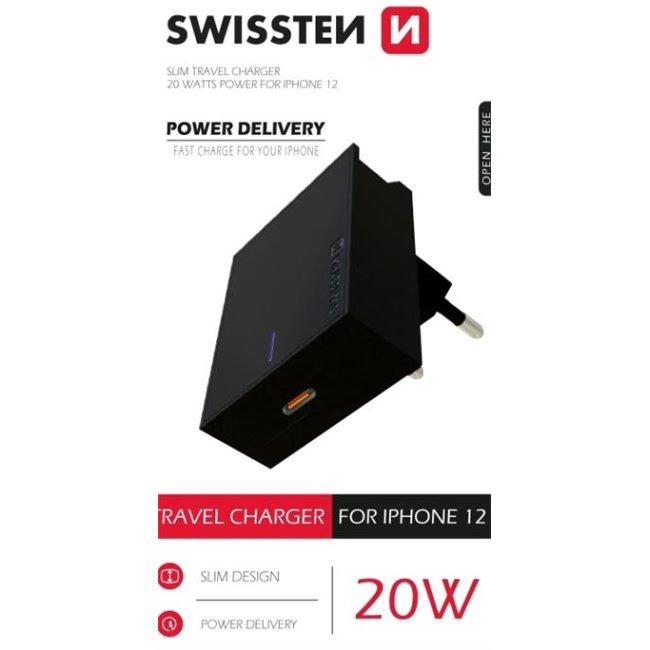 Rýchlonabíjačka Swissten Power Delivery 20W s 1x USB-C pre iPhone 12, čierna