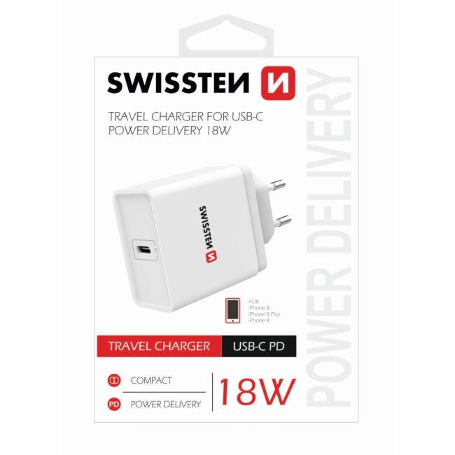 Rýchlonabíjačka Swissten pre iPhone s výkonom 18W a 1 USB-C konektorom, biela