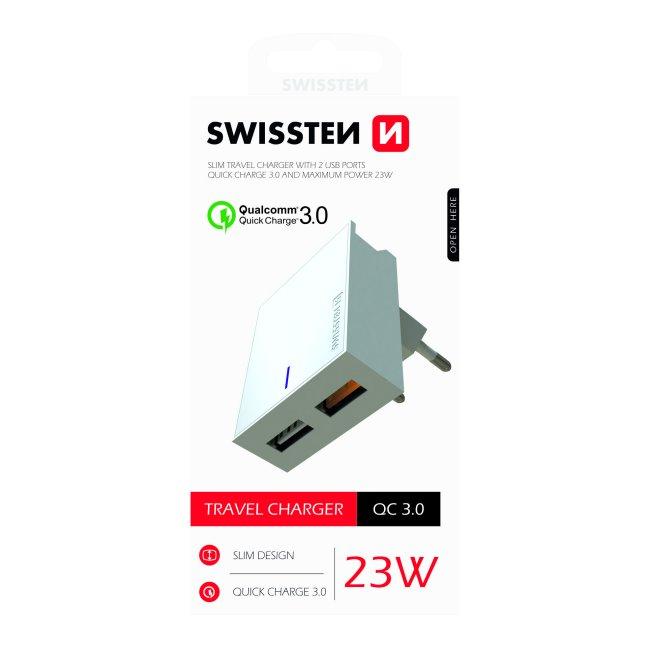 Rýchlonabíjačka Swissten Qualcomm Charger 3.0 s 2 USB konektormi, 23W, biela