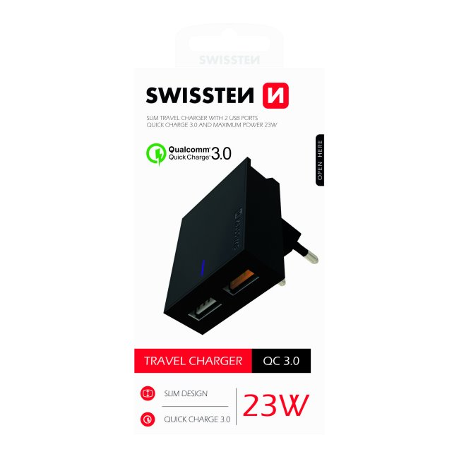 Rýchlonabíjačka Swissten Qualcomm Charger 3.0 s 2 USB konektormi, 23W, čierna