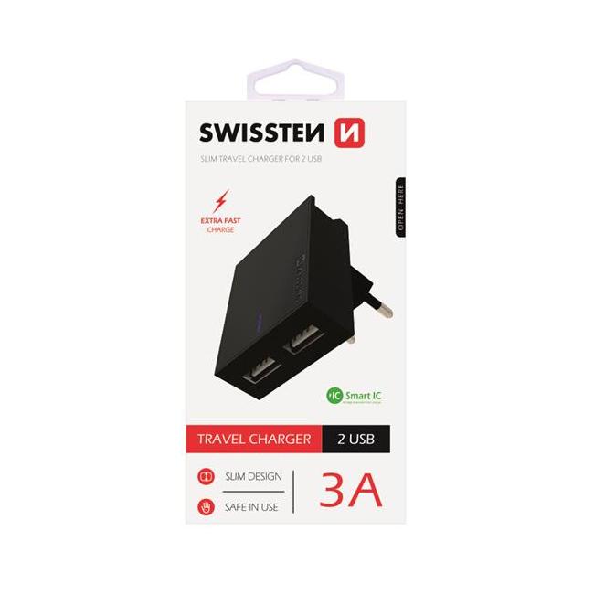 Rýchlonabíjačka Swissten Smart IC 3.A s 2 USB konektormi, čierna