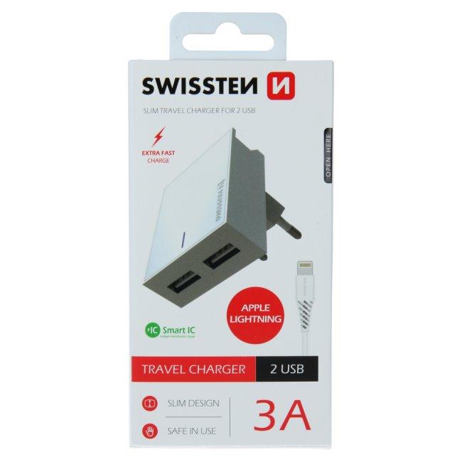 Rýchlonabíjačka Swissten Smart IC 3.A s 2 USB konektormi + dátový kábel USB / Lightning 1,2 m, biela