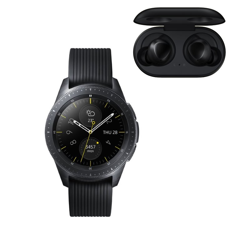 Samsung Galaxy Watch, Black + Samsung Galaxy Buds, Black