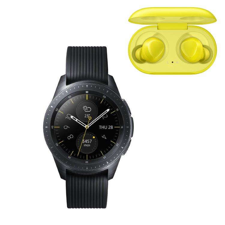 Samsung Galaxy Watch, Black + Samsung Galaxy Buds, Yellow