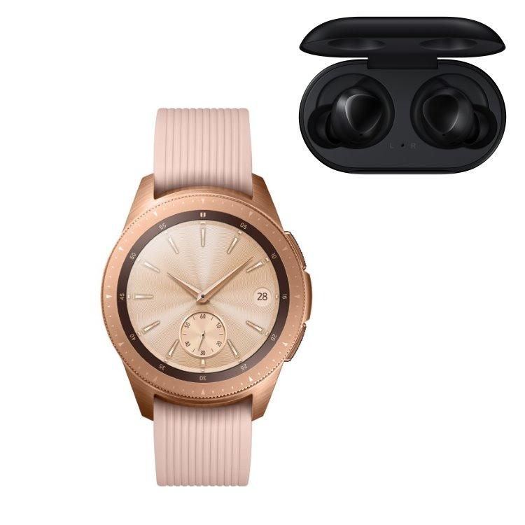 Samsung Galaxy Watch, Rose Gold + Samsung Galaxy Buds, Black