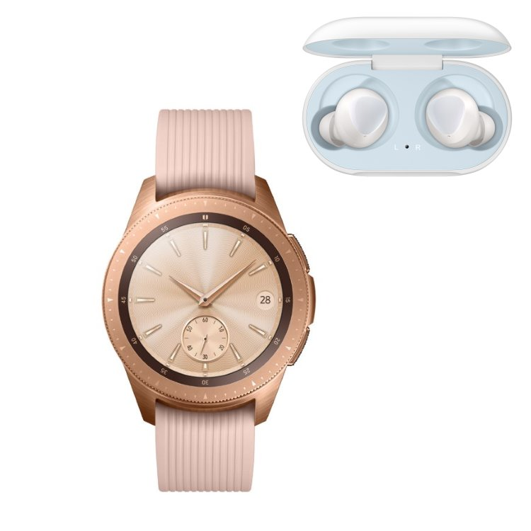 Samsung Galaxy Watch, Rose Gold + Samsung Galaxy Buds, White