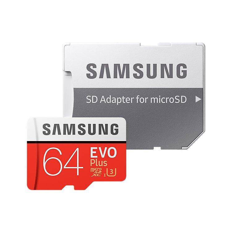 Samsung Micro SDXC EVO Plus 64GB (2017) + SD adaptér, UHS-I U3, Class 10 - rýchlosť 100/60 MB/s (MB-MC64GA/EU)