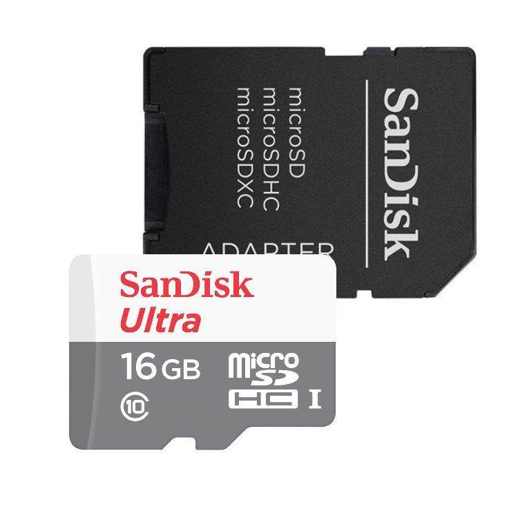 SanDisk Micro SDHC Ultra 16GB + SD adaptér, Class 10 - rýchlosť 48 MB/s (SDSQUNS-016G-GN3MA)