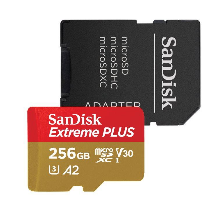SanDisk Micro SDXC Extreme Plus 256GB + SD adaptér, UHS-I U3 A2, Class 10 - rýchlosť 170/90 MB/s (SDSQXBZ-256G-GN6MA)