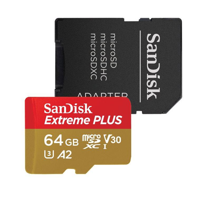 SanDisk Micro SDXC Extreme Plus 64GB + SD adaptér, UHS-I U3 A2, Class 10 - rýchlosť 170/90 MB/s (SDSQXBZ-064G-GN6MA)