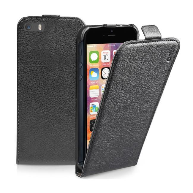 SBS kožené puzdro Flip Case pre iPhone 5/5S/SE, čierne