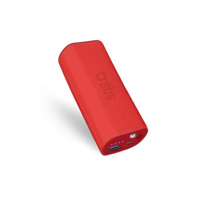 SBS záložný zdroj - Power Bank Compact 5000 mAh, červená TEBB5000R