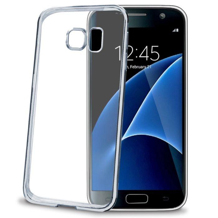 Silikonové puzdro Celly Laser s kovovým efektom pre Samsung Galaxy S7 - G930F, Silver BCLGS7SV