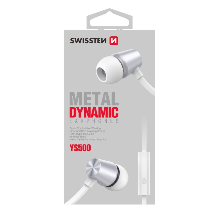 Slúchadlá Swissten Dynamic YS500, strieborné
