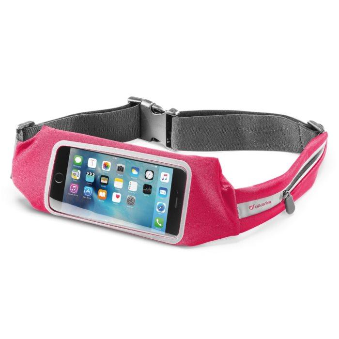 Športové puzdro na pás CellularLine View Running, Pink