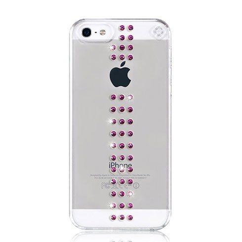 Swarovski kryt Stripe pre iPhone SE/5s/5 - Fuchsia 22-00-05-03
