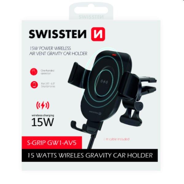 Swissten držiak do ventilácie auta s bezdrôtovým nabíjaním S-Grip GW1-AV5