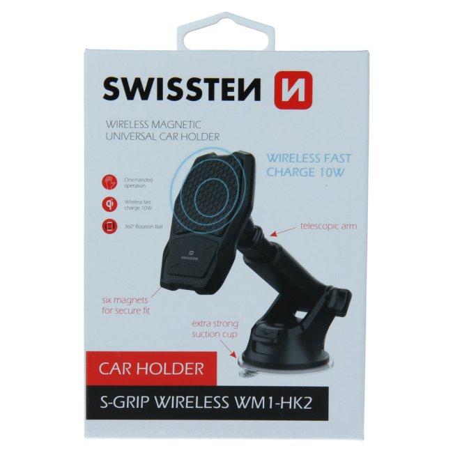 Swissten magnetický držiak do auta S-Grip WM1-HK2 s bezdrôtovým nabíjaním 65010604