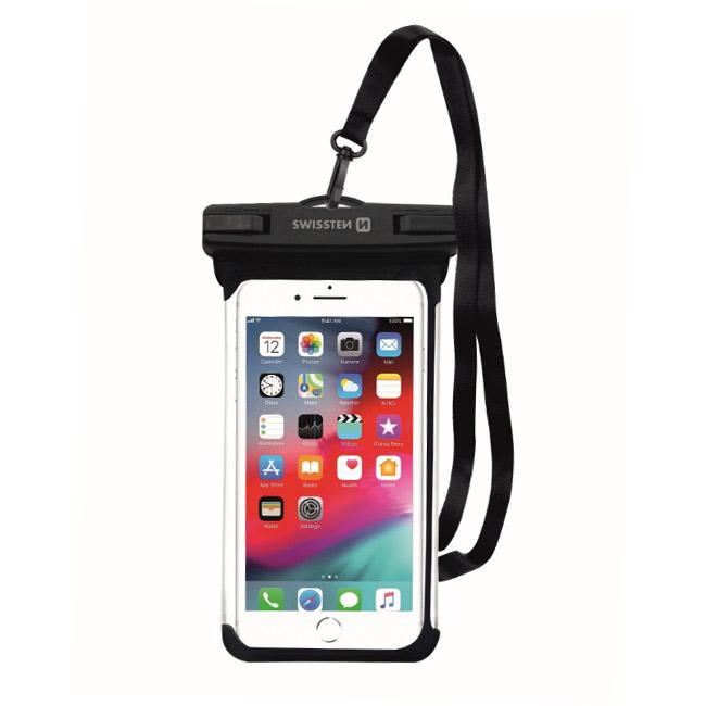 Swissten univerzálne vodeodolné puzdro pre smartfóny, IPX8, čierne