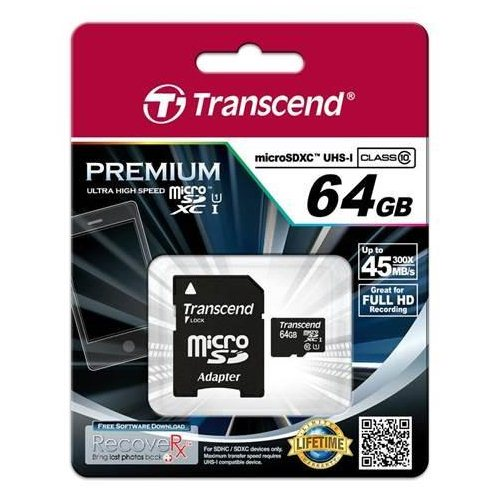 Transcend Micro SDXC 64GB + SD adapt�r, UHS-I, Class 10 - r�chlos� 45 MB/s