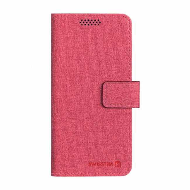 Univerzálne knižkové púzdro Swissten Libro, veľkosť XL, červené