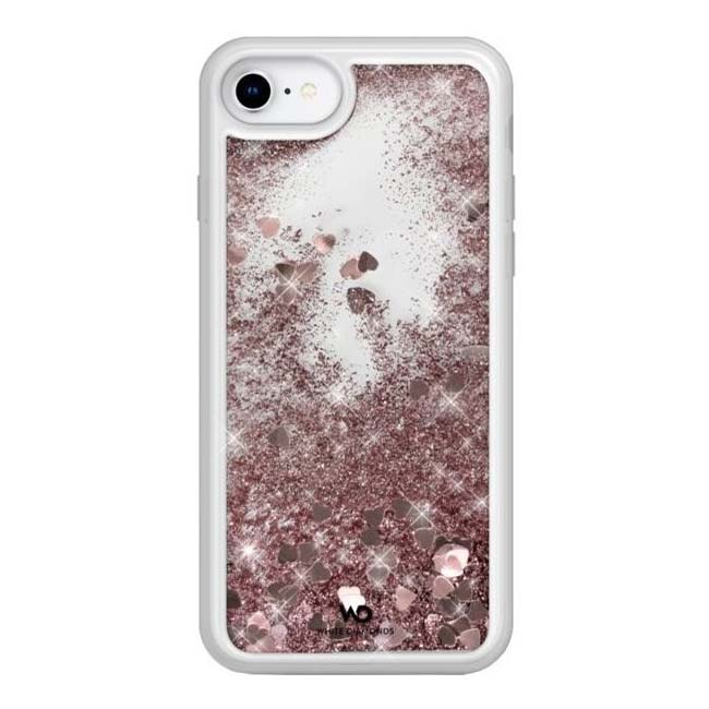 White Diamonds Sparkle Case Clear iPhone 6/7/8/SE 2020, Rose Gold Hearts