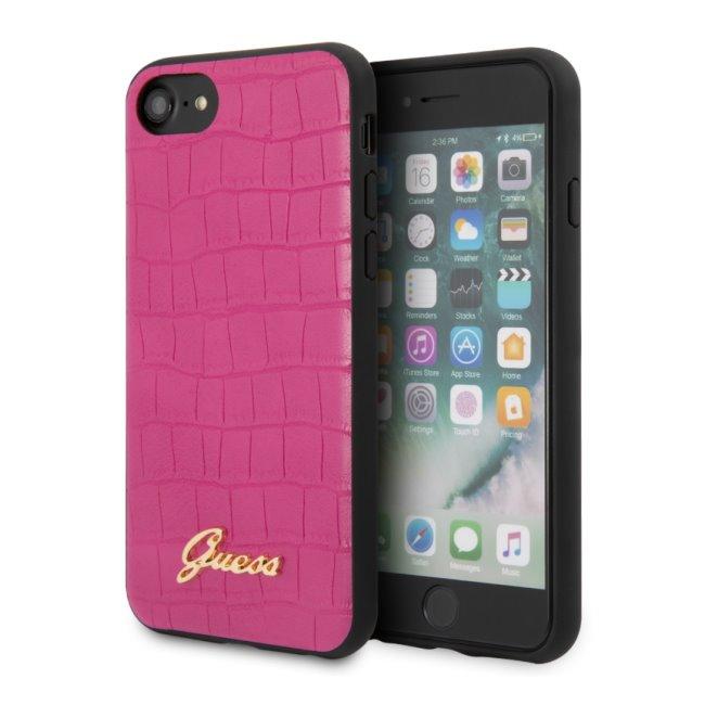 Zadný kryt Guess Croco pre iPhone SE/8/7, ružový 2451118