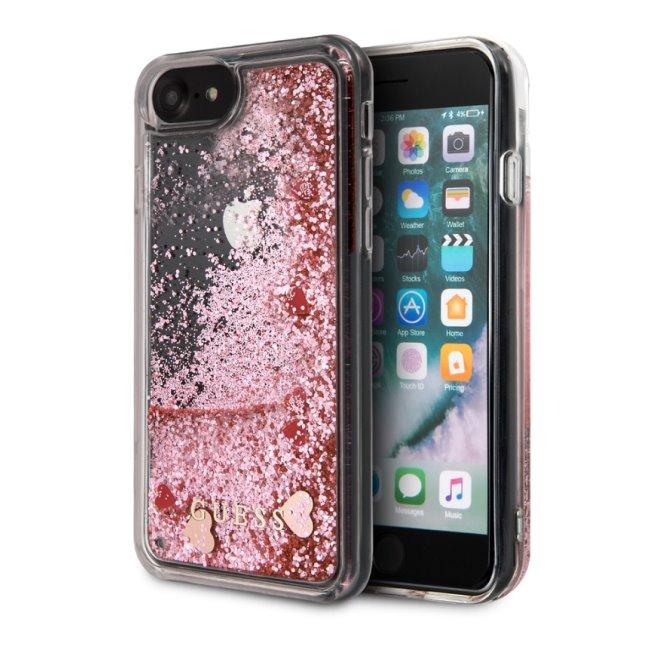 Zadný kryt Guess Glitter Floating Hearts pre iPhone SE/8/7, ružový 2451146
