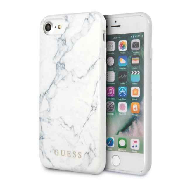 Zadný kryt Guess Marble pre iPhone SE/8/7, biely