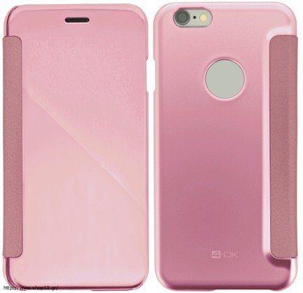 Zrkadlové puzdro 4-OK pre Apple Iphone 6/6S, ružové