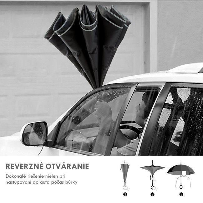 9dba0d1e9 Dizajnový dáždnik s reverzným otváraním a držiakom, LightBlue Black-