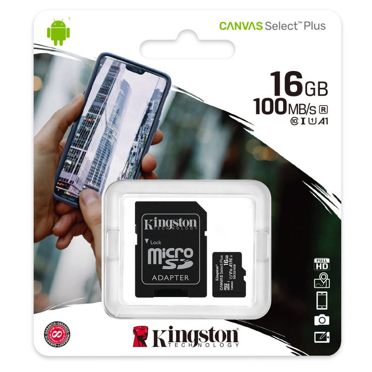 Kingston Canvas SeIect Plus Micro SDHC 16GB + SD adaptér, UHS-I A1, Class 10 - rýchlosť 100 MB/s (SDCS2/16GB)