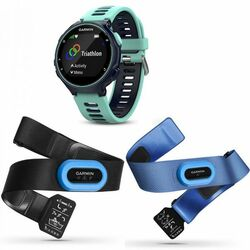 Garmin FORERUNNER 735XT, Midnight blue & Frost blue, Tri Bundle