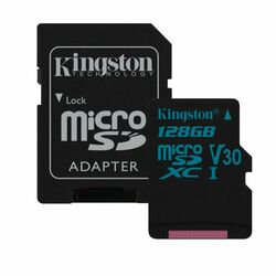 Kingston Canvas Go Micro SDXC 128GB + SD adaptér, UHS-I U3, Class 10 - rýchlosť 90/45 MB/s (SDCS/128GB)
