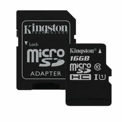 Kingston Canvas SeIect Micro SDHC 16GB + SD adaptér, UHS-I U1, Class 10 - rýchlosť 80 MB/s (SDCS/16GB)