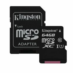 Kingston Canvas SeIect Micro SDXC 64GB + SD adaptér, UHS-I U1, Class 10 - rýchlosť 80 MB/s (SDCS/64GB)