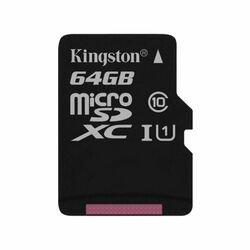 Kingston Canvas SeIect Micro SDXC 64GB, UHS-I U1, Class 10 - rýchlosť 80 MB/s (SDCS/64GBSP)