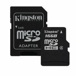 Kingston Micro SDHC 16GB + SD adaptér, Class 4 (SDC4/16GB)