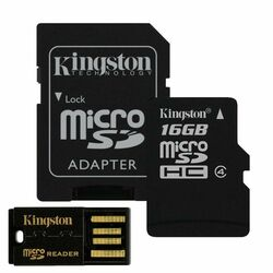 Kingston Micro SDHC 16GB + SD adaptér, Class 4 + USB micro čítačka (MBLY4G2/16GB)