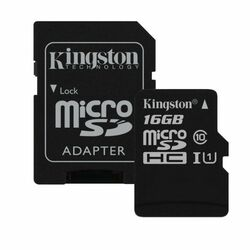 Kingston Micro SDHC 16GB + SD adaptér, UHS-I, Class 10 - rýchlos� 45 MB/s (SDC10G2/16GB)
