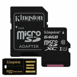 Kingston Micro SDXC 64GB + SD adaptér, Class 10 - rýchlos� 30 MB/s  + USB micro èítaèka (MBLY10G2/64GB)