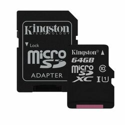Kingston Micro SDXC 64GB + SD adaptér, UHS-I, Class 10 - rýchlos� 45 MB/s (SDC10G2/64GB)