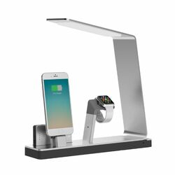 MiTagg NuDock Power Lamp - Stojan pre Apple iPhone a Apple Watch, Silver