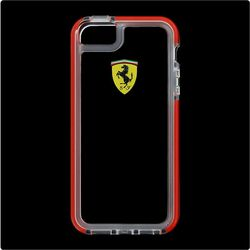 Odolné puzdro Scuderia Ferrari pre Apple iPhone 5S, Apple iPhone SE, Transparent/Red