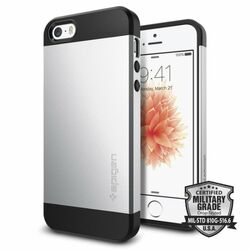 Puzdro Spigen Slim Armor pre Apple iPhone 5, Apple iPhone 5S, Apple iPhone SE, Satin Silver