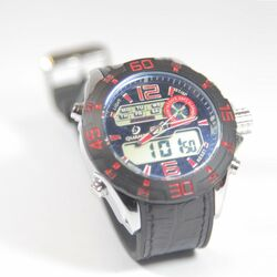 Quamer Outdoor Watch, Black/Red + čierný kožený remienok