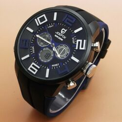 Quamer Sport Watch, Black/Blue