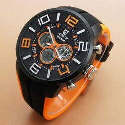 Quamer Sport Watch, Black/Orange